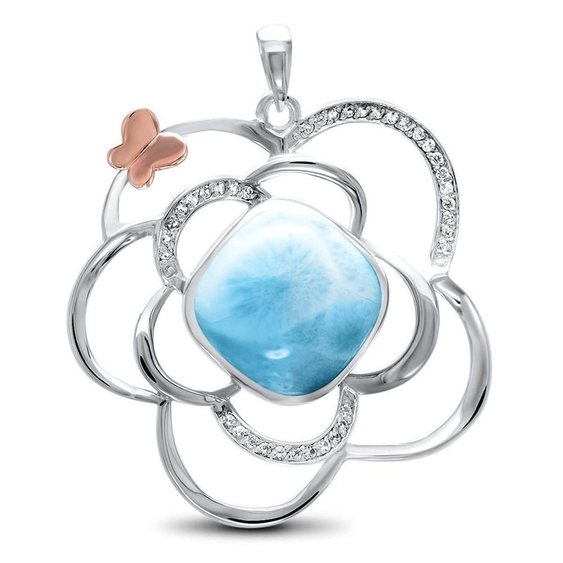 Flower Necklace - Nflow00-00-Marahlago Larimar-Renee Taylor Gallery