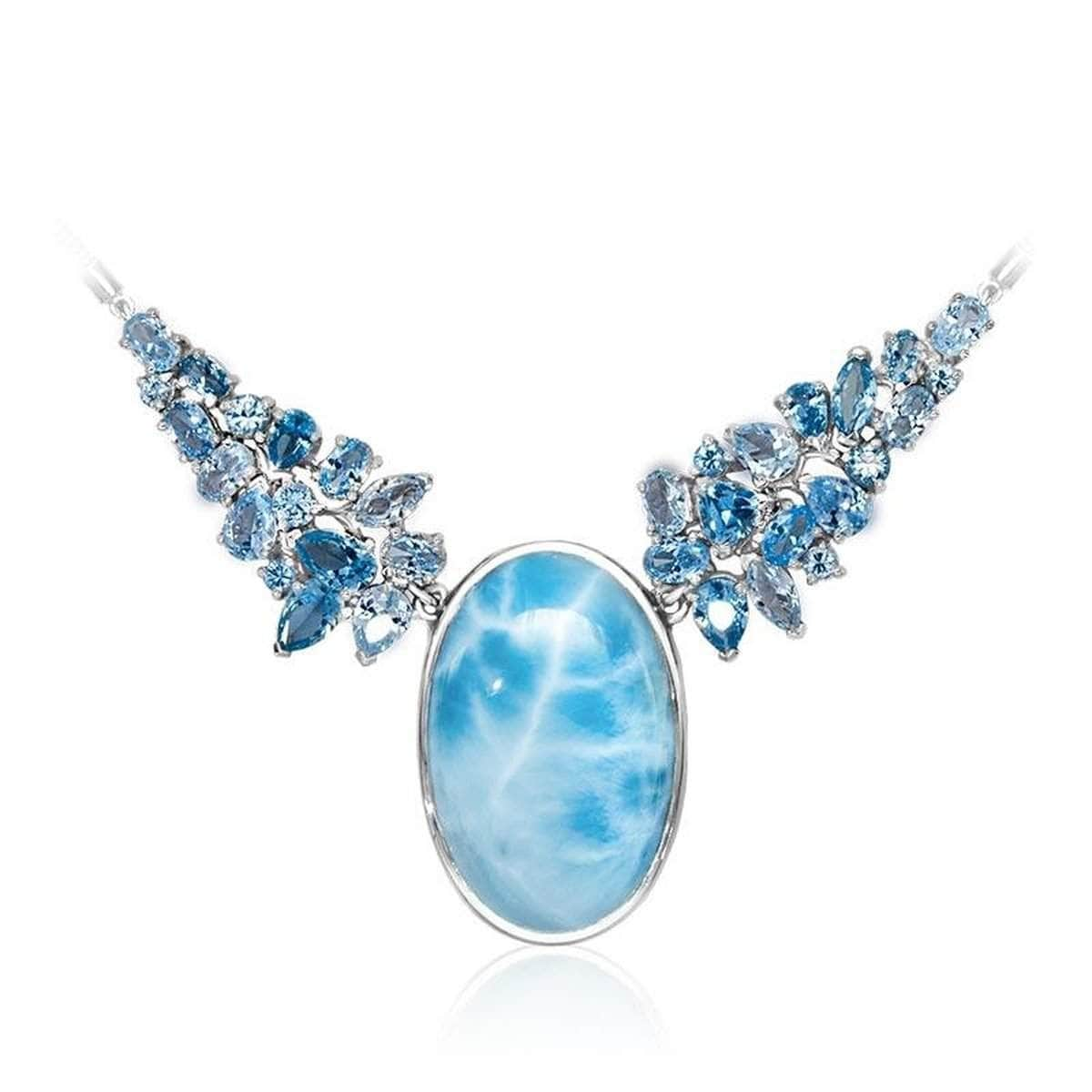 Grace Light Blue Topaz Necklace - Ngrac01-00-Marahlago Larimar-Renee Taylor Gallery