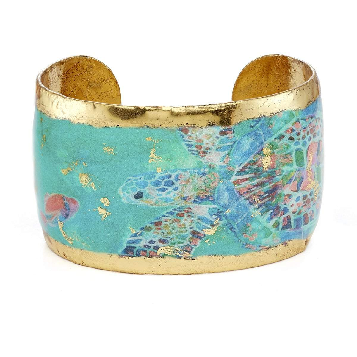 "Green Mosaic Sea Turtle 1.5"" Gold Cuff - OC144-5-Evocateur-Renee Taylor Gallery"