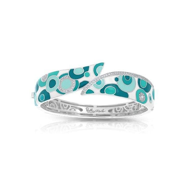 Groovy White & Aqua Bangle-Belle Etoile-Renee Taylor Gallery