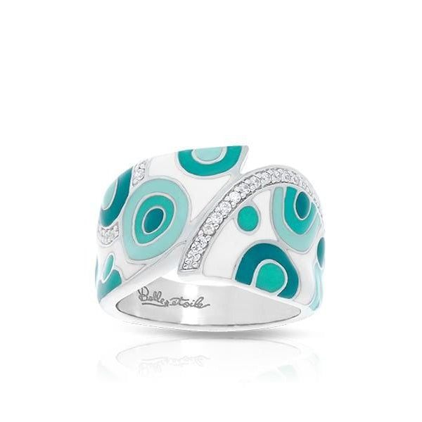Groovy White & Aqua Ring-Belle Etoile-Renee Taylor Gallery