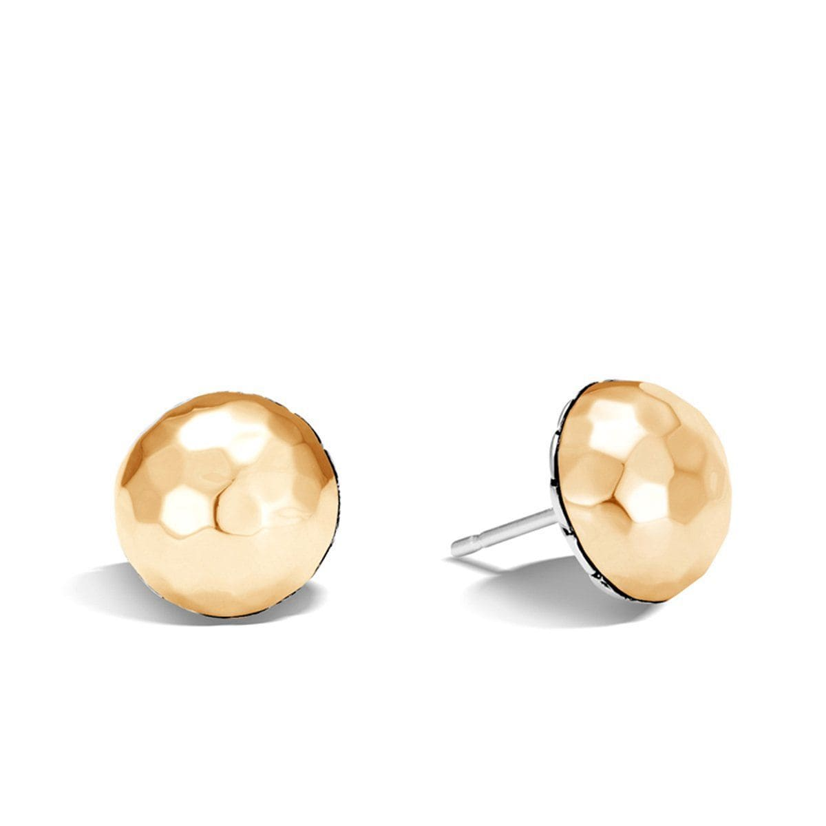 Hammered Gold Large Stud Earrings - EZ999578