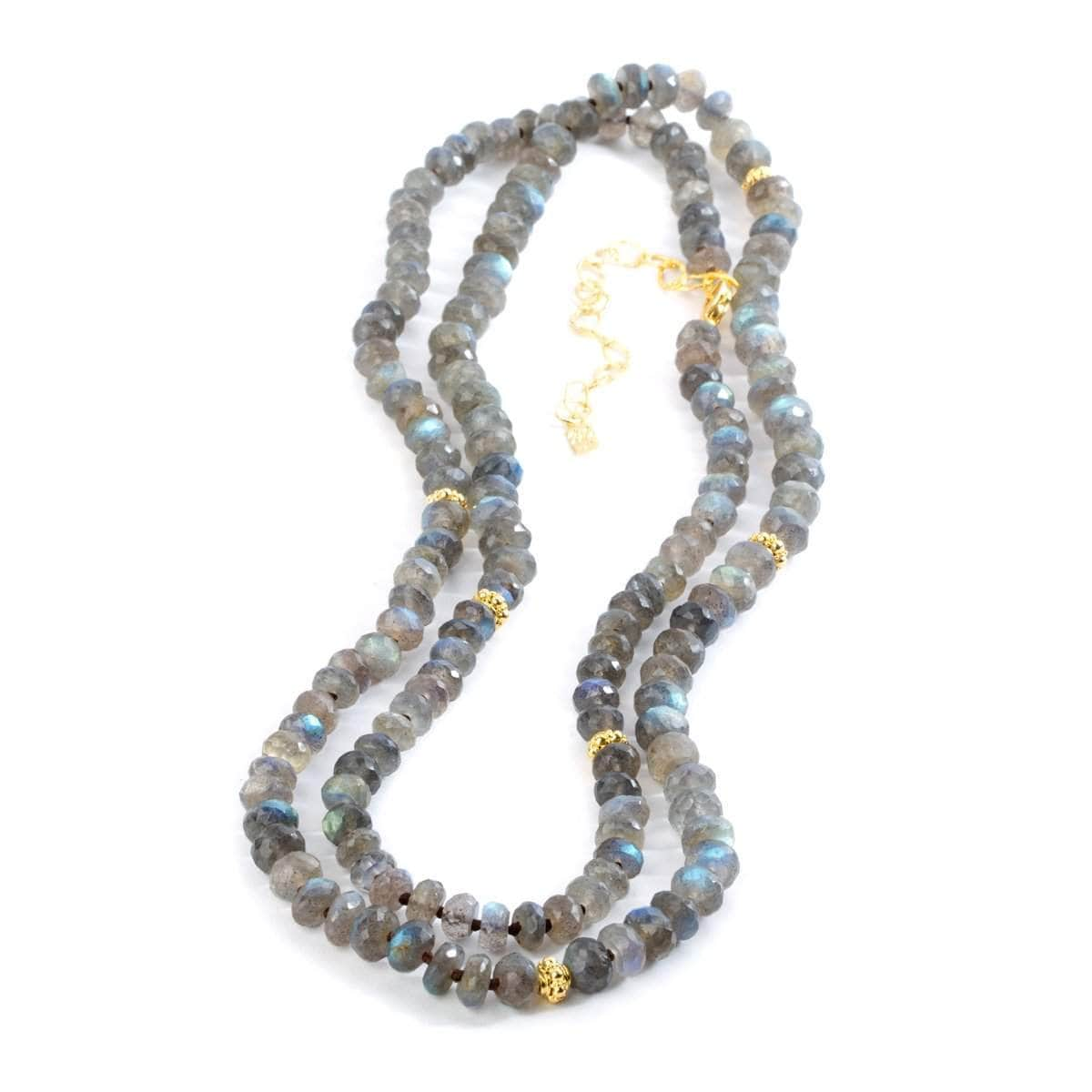 Heirloom 22k Gold Plated & Labradorite Necklace - G8200N-42-Nina Nguyen-Renee Taylor Gallery