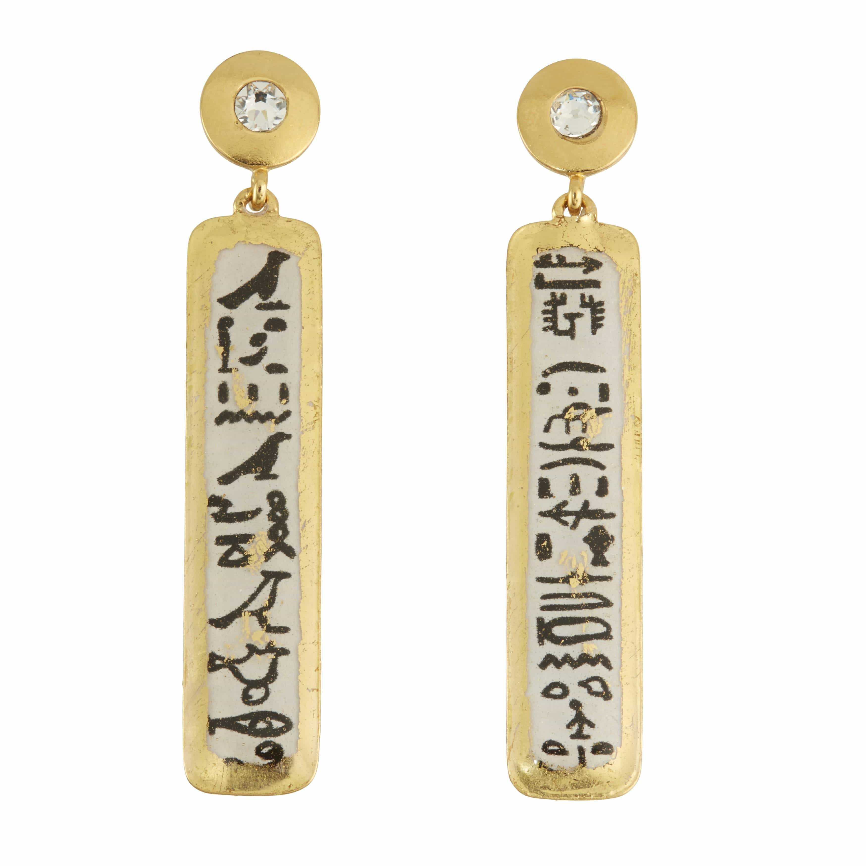 Hieroglyphics Column Gold Earrings - AC487C