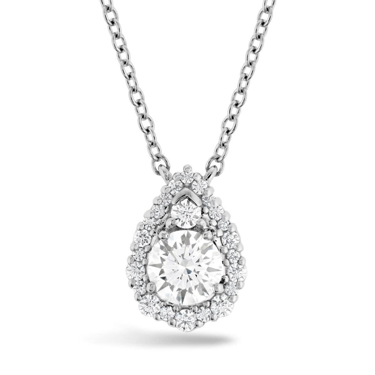 HOF Teardrop Halo Diamond Pendant & Chain - HFPHTRDH00908W-Hearts on Fire-Renee Taylor Gallery