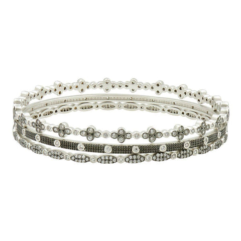Industrial Finish 3 Stack Bezel Bangle Set - IFPKZB12-Freida Rothman-Renee Taylor Gallery