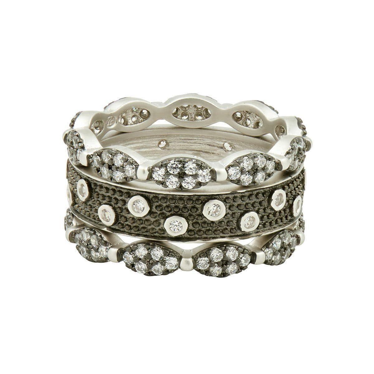 Industrial Finish 3-Stack Rings - IFPKZR04-Freida Rothman-Renee Taylor Gallery