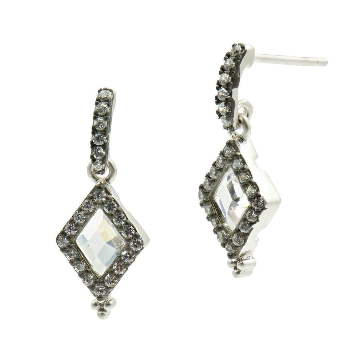 Industrial Finish Diamond Shape Drop Earrings - IFPKZE16