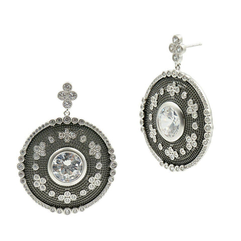 Industrial Finish Large Oval Plate Drop Earrings - IFPKZE15-Freida Rothman-Renee Taylor Gallery