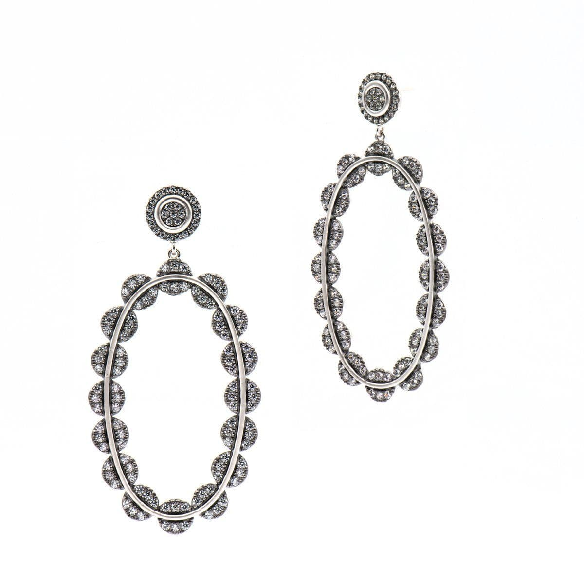 Industrial Finish Large Pave Oval Drop Earrings - PRZE020312B - Freida Rothman