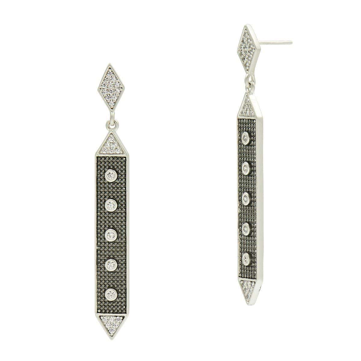 Industrial Finish Linear Hammered Drop Earrings - IFPKZE11
