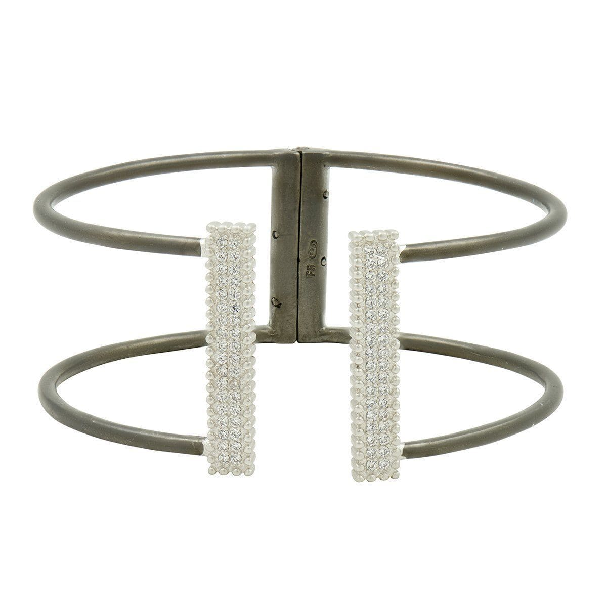 Industrial Finish Open Pave Bangle - IFPKZB01-H
