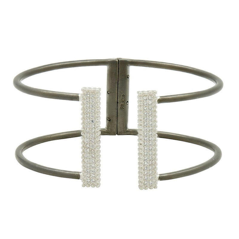 Industrial Finish Open Pave Bangle - IFPKZB01-H-Freida Rothman-Renee Taylor Gallery