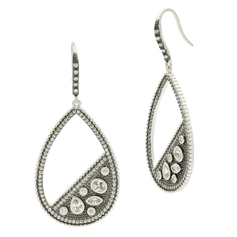 Industrial Finish Pave Open Teardrop Earrings - IFPKZE07-Freida Rothman-Renee Taylor Gallery