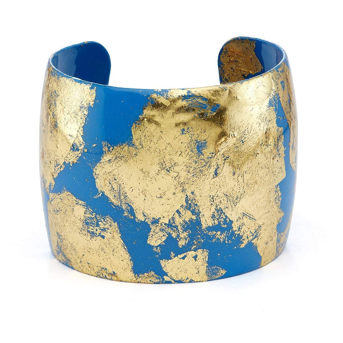 "Island Blue 2"" Gold Cuff - VO1024-Evocateur-Renee Taylor Gallery"