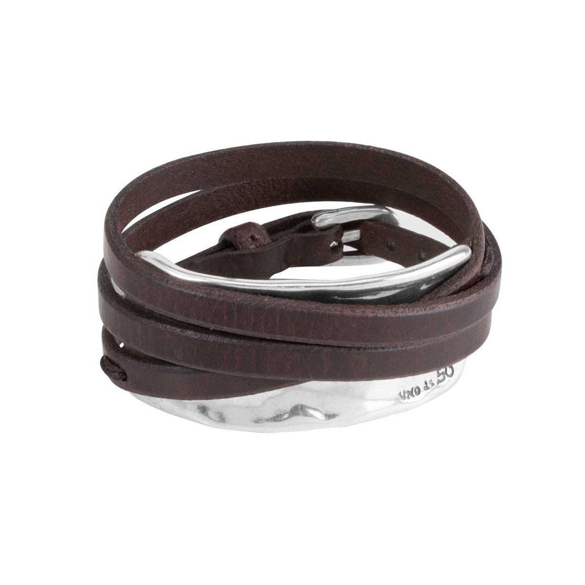 Leather & Silver Bracelet - PUL1178MARMTL0M