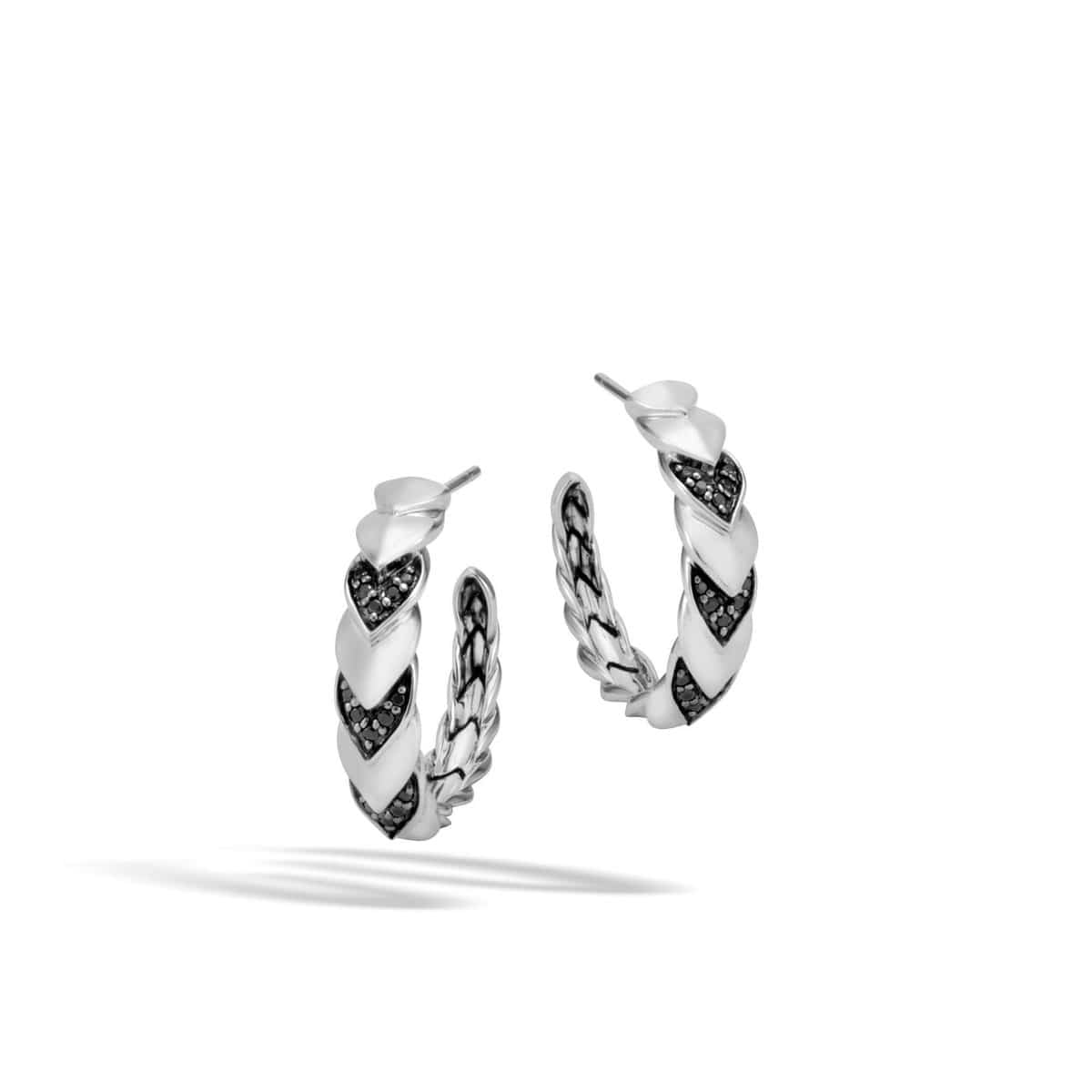 Legends Naga Silver Small Hoop Earrings - EBS6501264BLSBN-John Hardy-Renee Taylor Gallery