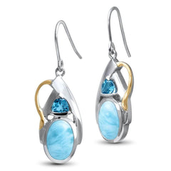 Lena Earrings - Elena00-00-Marahlago Larimar-Renee Taylor Gallery