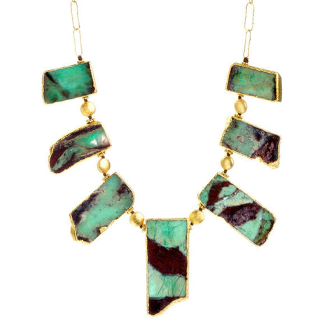 Love 22k Gold Plated with Chrysoprase Necklace - G4050N-CHR-Nina Nguyen-Renee Taylor Gallery