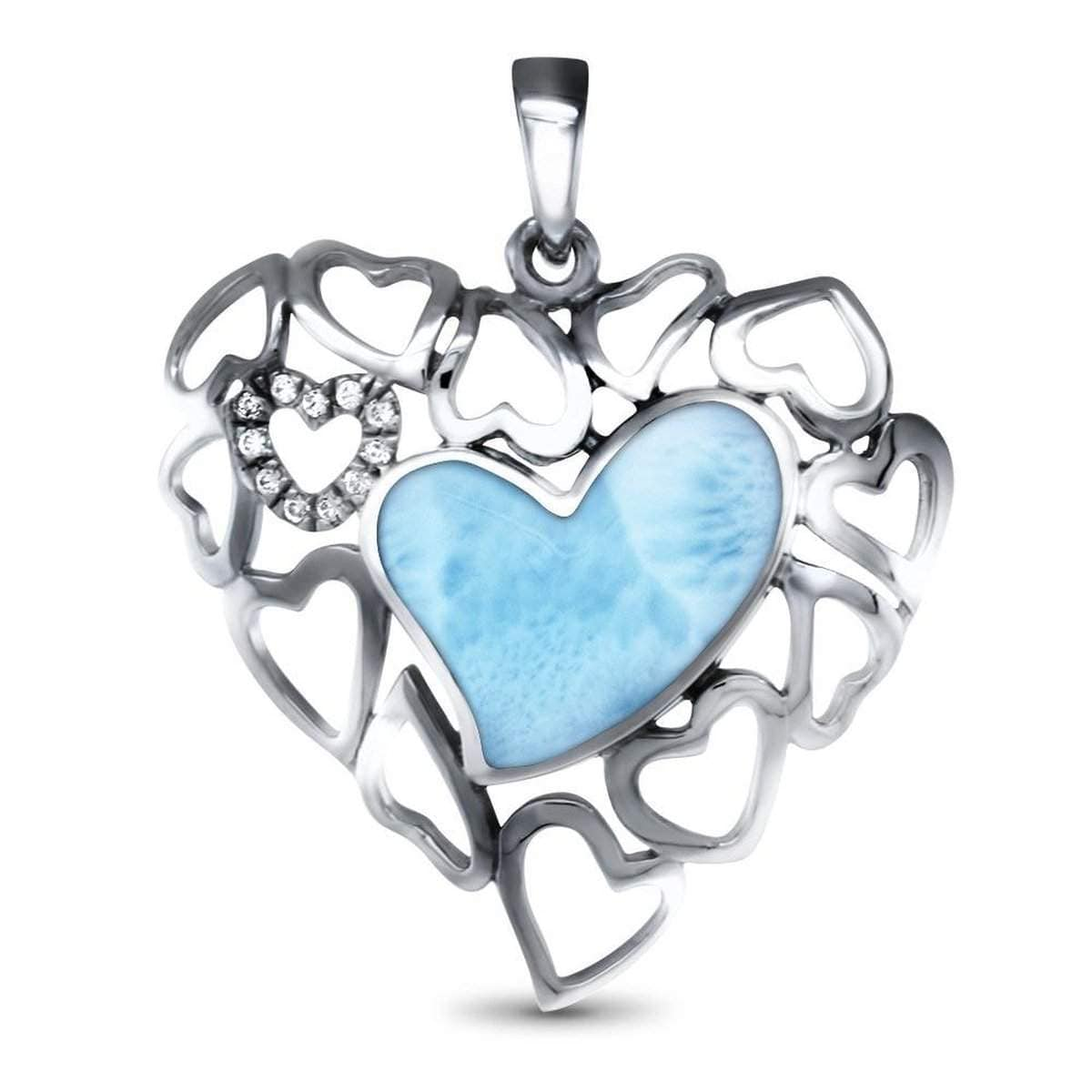 Lyla Heart Necklace - Nlyla00-00-Marahlago Larimar-Renee Taylor Gallery