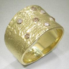 Manzanita Cigar Style Wide Band Gold Ring - 33R2-2-2G-YG-Sarah Graham-Renee Taylor Gallery
