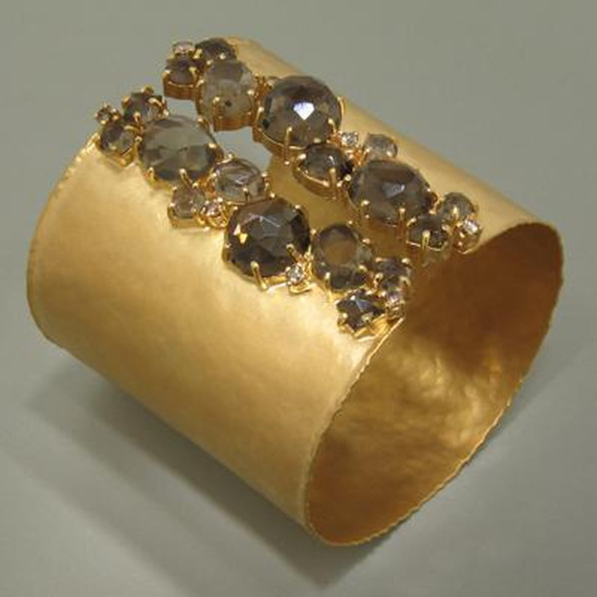 Marika Diamond, Smokey Quartz & Gold Cuff - M2854-Marika-Renee Taylor Gallery