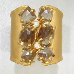 Marika Diamond, Smokey Quartz & Gold Ring - M2872-Marika-Renee Taylor Gallery