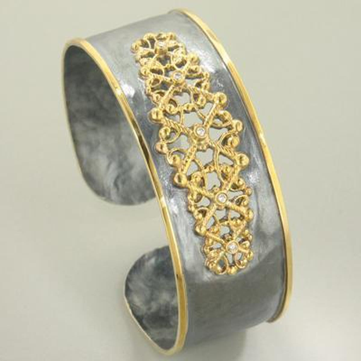 Marika Diamond, Sterling Silver & 18k Gold Cuff - MS18135-Marika-Renee Taylor Gallery