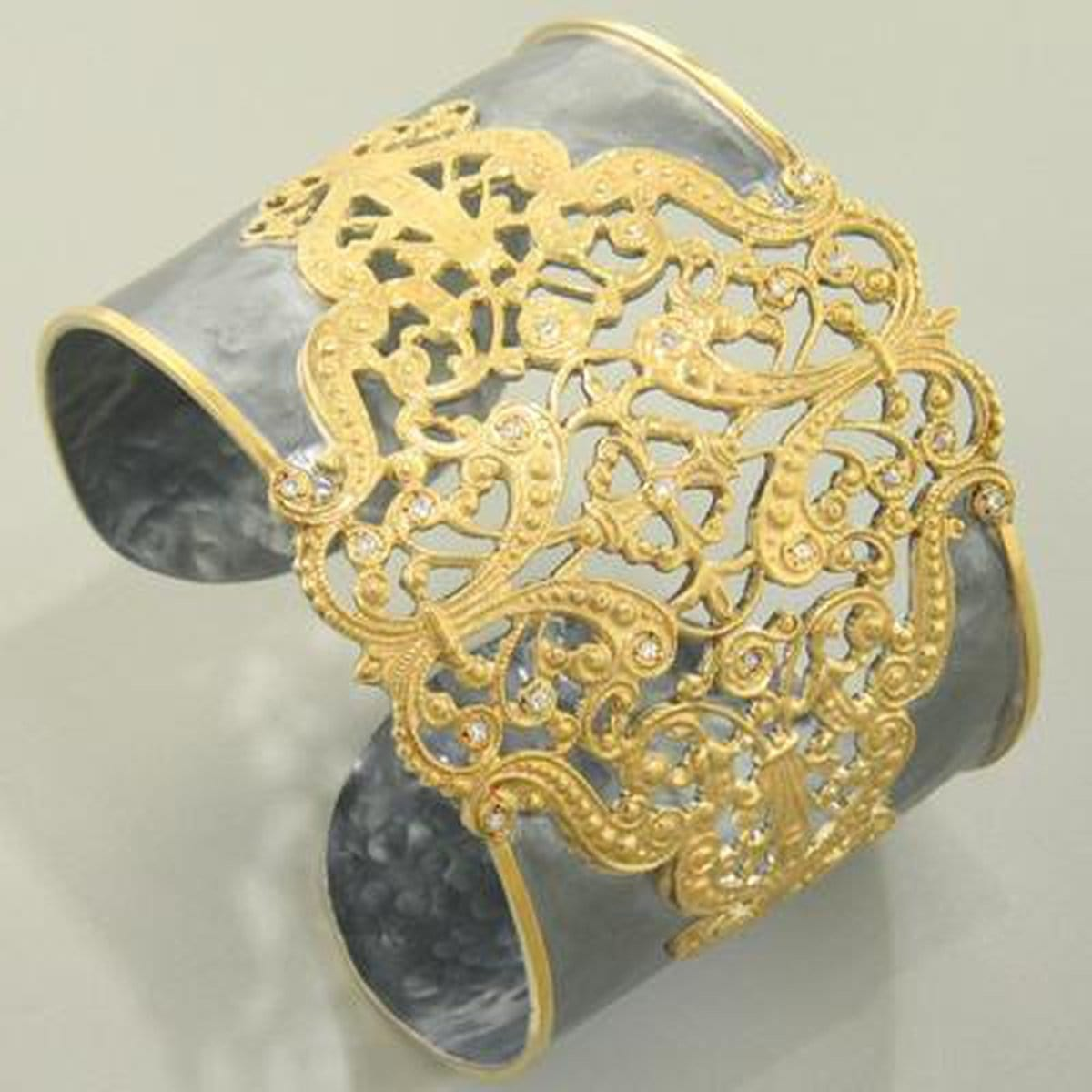 Marika Diamond, Sterling Silver & 18k Gold Cuff - MS18218-Marika-Renee Taylor Gallery