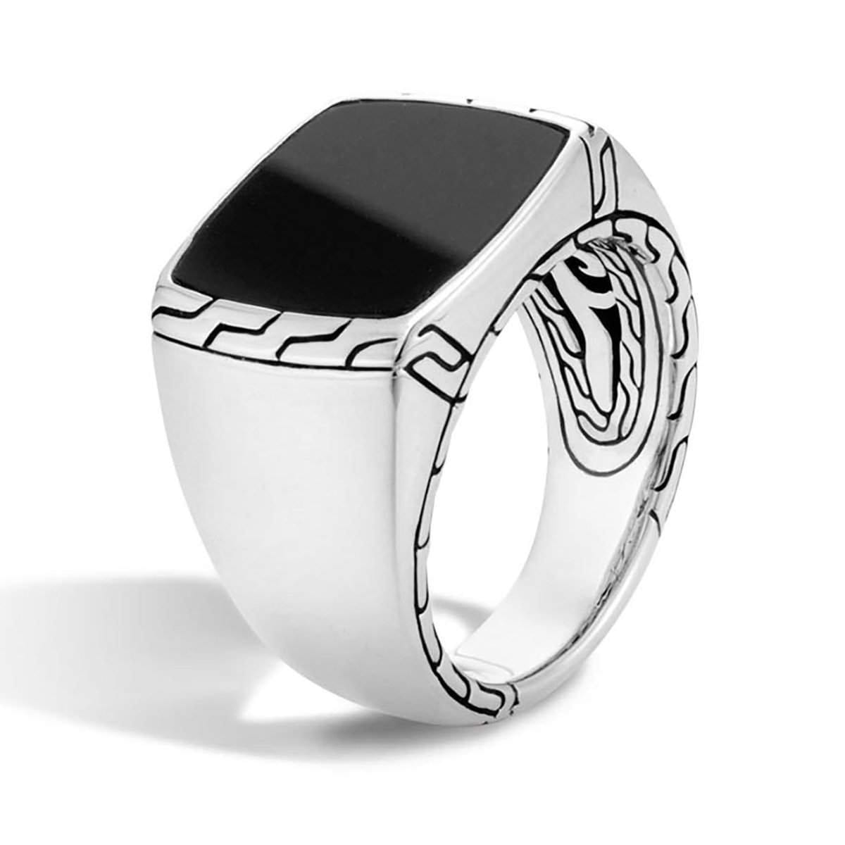 Classic Chain Men's Silver Signet Black Jade Ring - RBS996691BJ-John Hardy-Renee Taylor Gallery