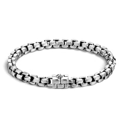 Classic Chain Men's Silver Square Link Bracelet - BM910-John Hardy-Renee Taylor Gallery