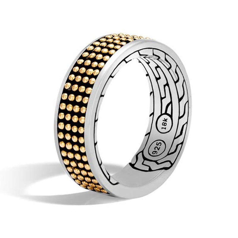 Classic Chain Men's Silver & 18k Gold Band Ring - RZ97025-John Hardy-Renee Taylor Gallery