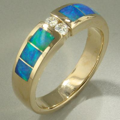 Men S Opal Diamond Ring 16159 Christopher Corbett