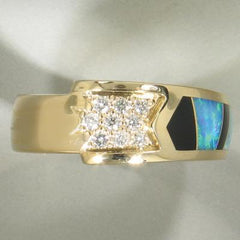 Men's Opal, Onyx & Diamond Ring - 16161-Christopher Corbett-Renee Taylor Gallery