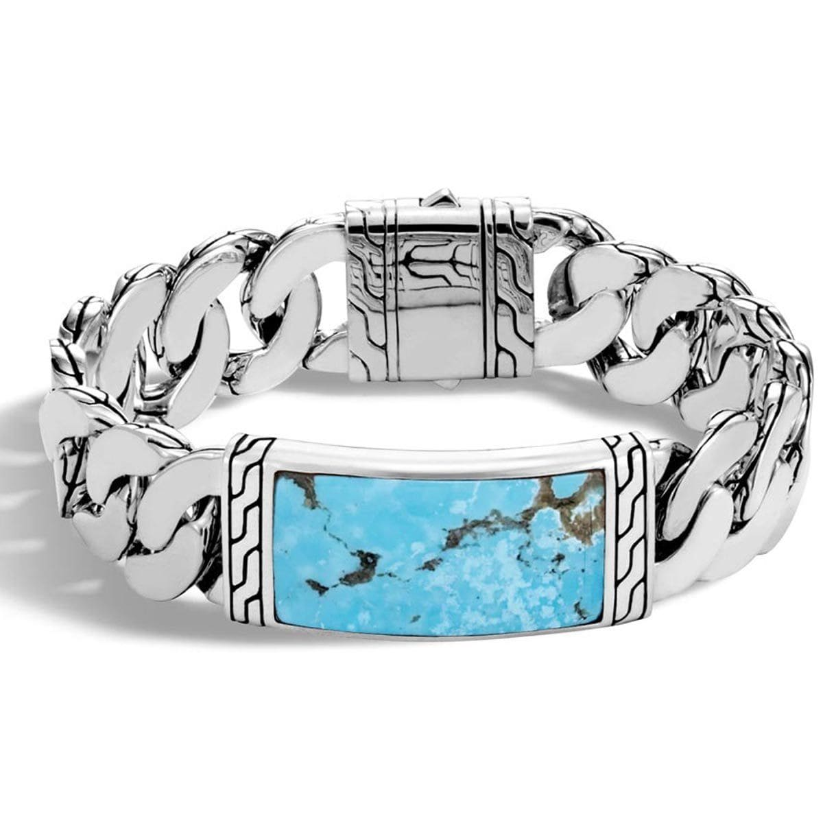 Classic Chain Men's Silver Turquoise Bracelet - BMS9995581TQBM-John Hardy-Renee Taylor Gallery