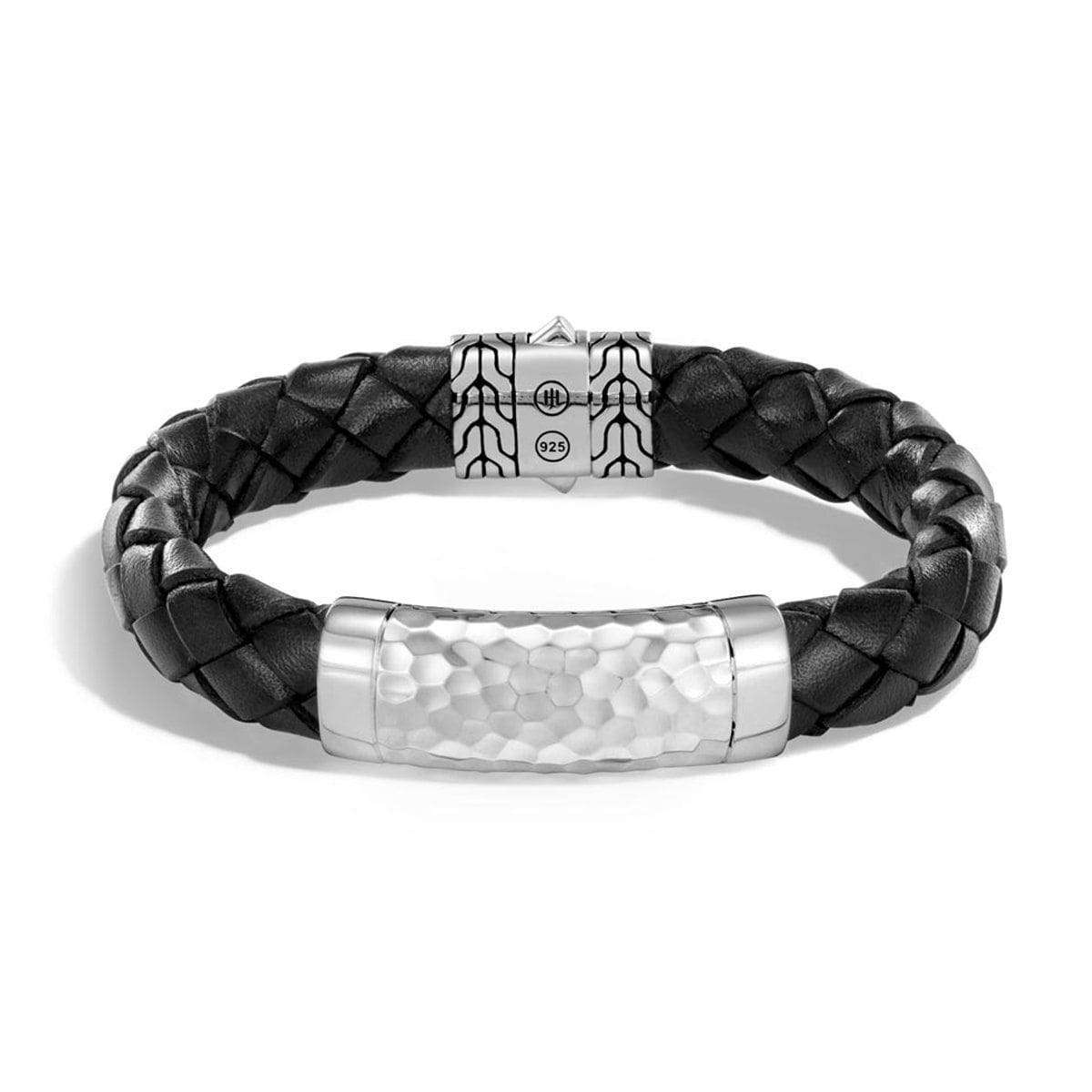 Classic Chain Men's Silver & Leather Bracelet - BM97027BL-John Hardy-Renee Taylor Gallery