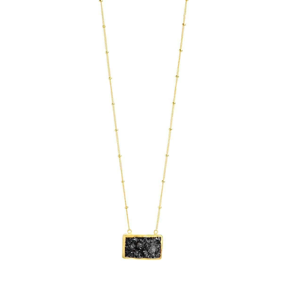 Nirvana 22k Gold Plated Black Druzy Necklace - G7012N-Nina Nguyen-Renee Taylor Gallery