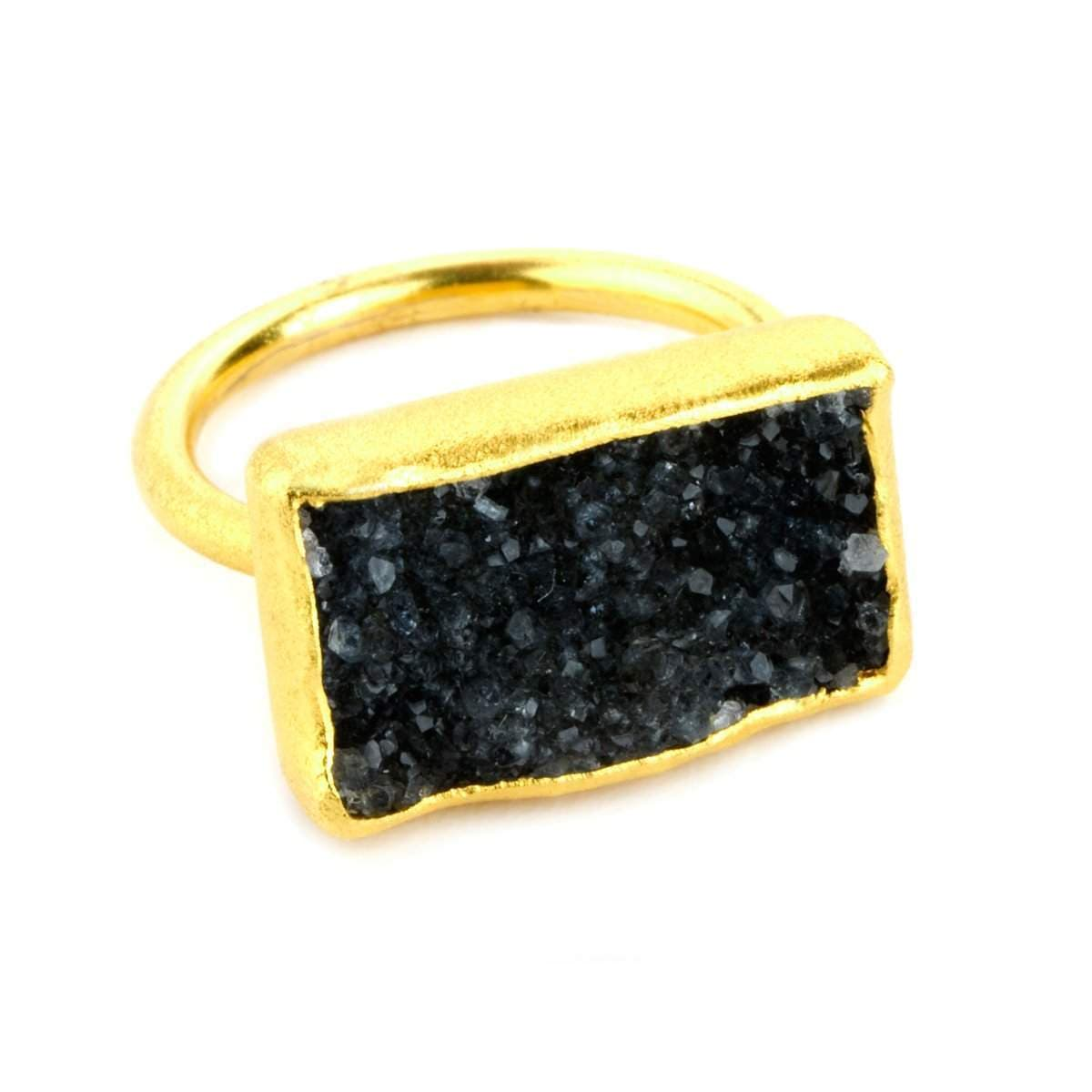 Nirvana 22k Gold Plated Black Druzy Ring - G7012R