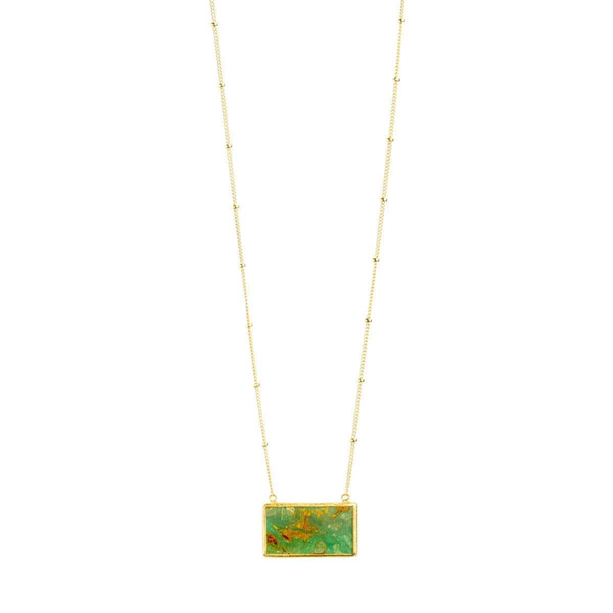 Nirvana 22k Gold Plated Turquoise Necklace - G7012N-Nina Nguyen-Renee Taylor Gallery