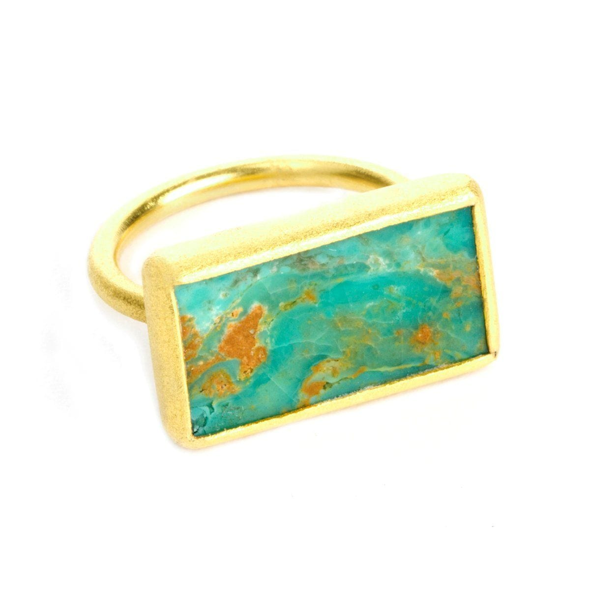 Nirvana 22k Gold Plated Turquoise Ring - G7012R