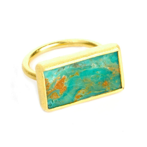 Nirvana 22k Gold Plated Turquoise Ring - G7012R-Nina Nguyen-Renee Taylor Gallery