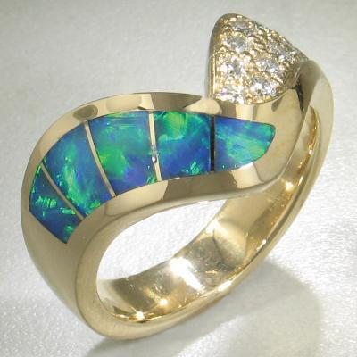 Opal & Diamond Crossover Ring - 16156
