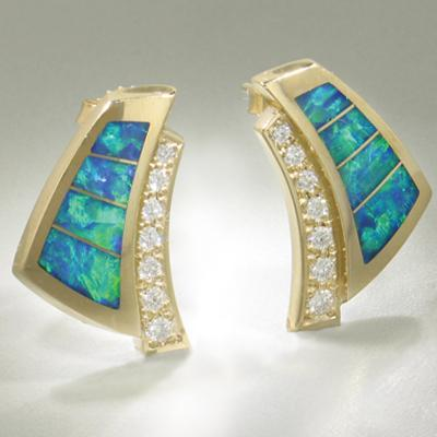 Opal & Diamond Earrings - 16143-Christopher Corbett-Renee Taylor Gallery