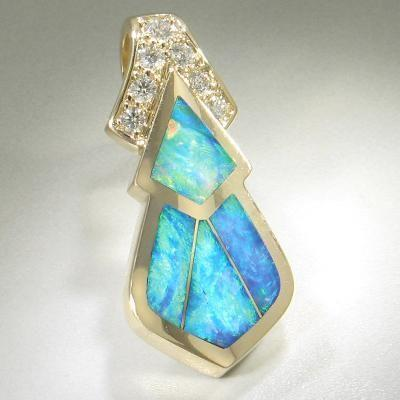 Opal & Diamond Pendant - 16146-Christopher Corbett-Renee Taylor Gallery