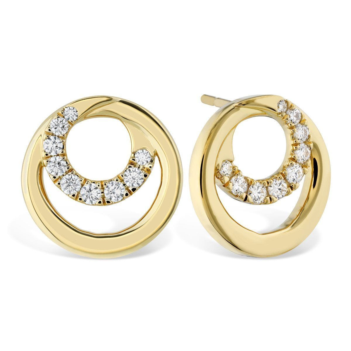 Optima Circle Diamond Stud Earrings - HFEOPTCR00388
