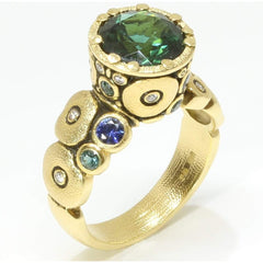 18K Orchard Green TourmalineBlue Sapphire & Diamond Ring - R-129S-Alex Sepkus-Renee Taylor Gallery