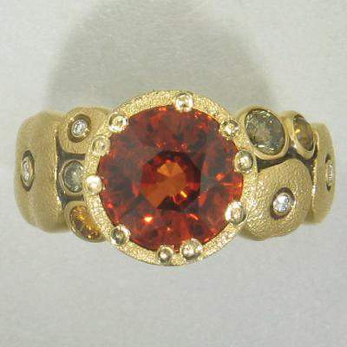 18K Orchard Mandarin Garnet & Diamond Ring - R-129DC-Alex Sepkus-Renee Taylor Gallery