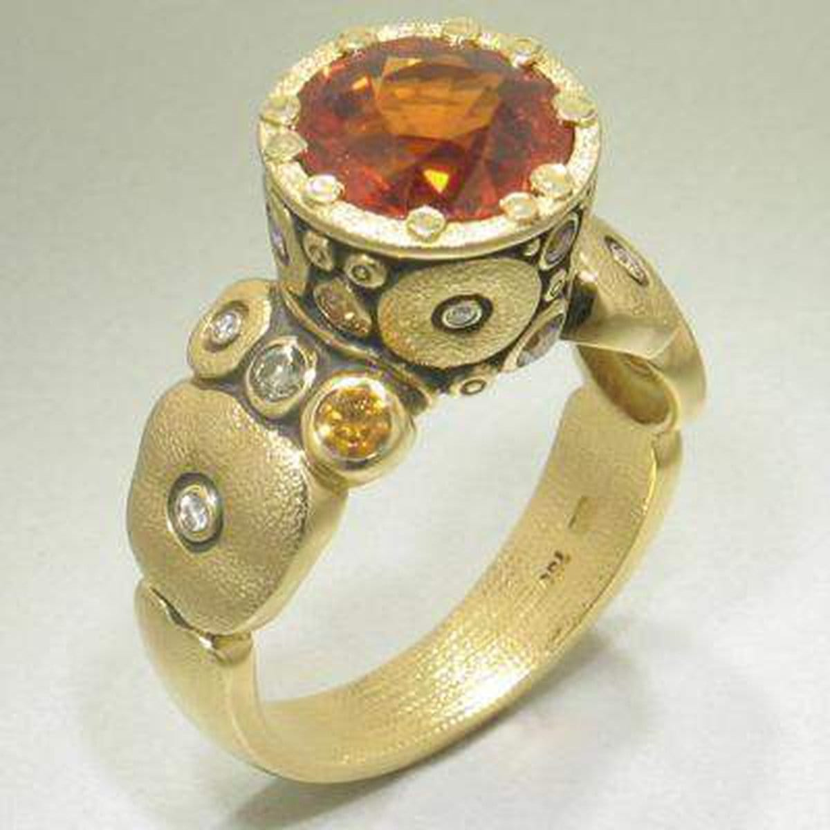 18K Orchard Mandarin Garnet & Diamond Ring - R-129DC