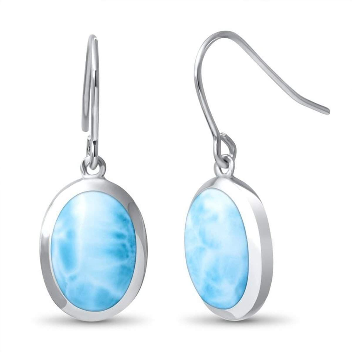Oval Dangle Earrings - Ebasi04-00-Marahlago Larimar-Renee Taylor Gallery
