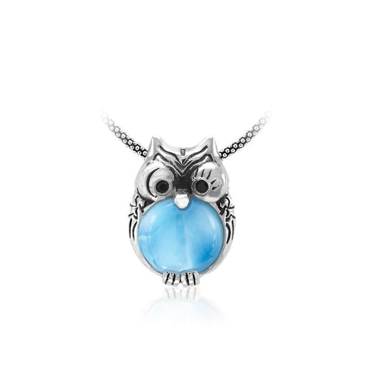 Owl Black Spinel Necklace - Nowl000-00-Marahlago Larimar-Renee Taylor Gallery
